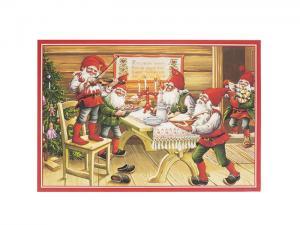 Julbonad - Tomtar spelar vid middagsbordet - 50 x 35 cm - www.frokenfraken.se