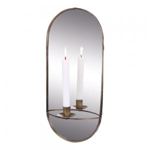 Spegel med ljushållare - Väggljusstake - Antik Mässing - 45 x 20 cm - www.frokenfraken.se