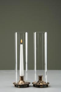 Ljuslykta - Cylinder - Glas - Guldbrun - 10 x 32 cm - www.frokenfraken.se