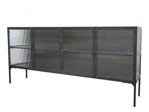Skåp - Antik svart med randiga glasdörrar - 94 x 200 cm - www.frokenfraken.se