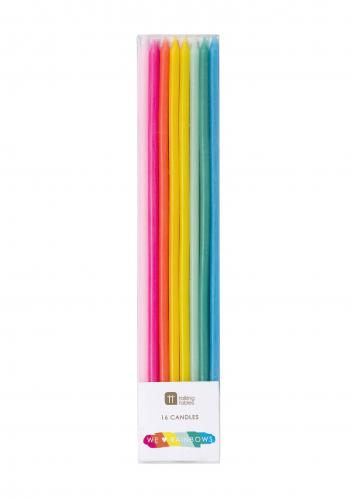 Tårtljus - Långa - Birthday Brights Rainbow Candles - 16 cm - www.frokenfraken.se
