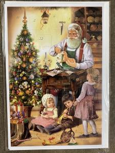 Dubbel Kort/Adventskalender - Tomte med barn i verkstaden - 17 x 11,5 cm - www.frokenfraken.se