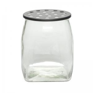 Glasvas - Med hålat lock - 22,5 x 23 cm - www.frokenfraken.se