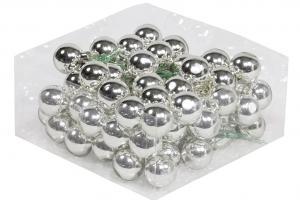 Julkula på ståltråd - Glas - Silver - 3 cm - 72-pack - www.frokenfraken.se