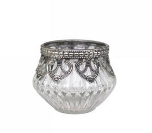 Ljuslykta för värmeljus - Mönstrat glas & vintagesilver - Ø7,5 x 6 cm - www.frokenfraken.se