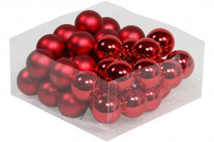 Julkula på ståltråd - Glas - Röd - 4 cm - 36-pack - www.frokenfraken.se