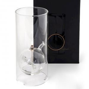 Oljelampa - Glas - Cylinder med boll - Silver - 22 cm - www.frokenfraken.se