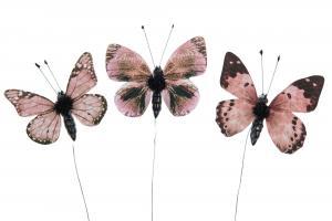 Fjärilar - Stick - Brunrosa Mix - 5 cm - 3 st - www.frokenfraken.se