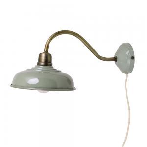 Vägglampa - Grön/Mässing - 39 x Ø20 cm - www.frokenfraken.se