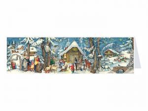 Dubbel Kort/Adventskalender - Panorama Julstall - 31 x 9 cm - www.frokenfraken.se