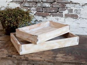 Träbrickor- 2 storlekar - Antik Vit - 43 x 25 cm - www.frokenfraken.se