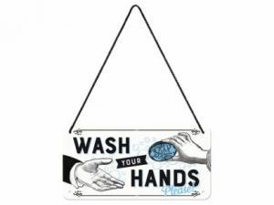 Plåtskylt - Wash Your Hands - 10 x 20 cm - www.frokenfraken.se