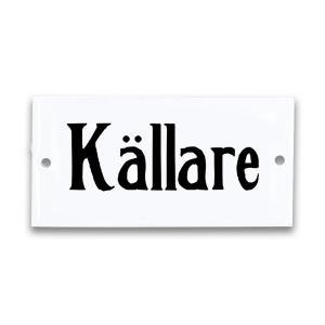 """Emaljskylt - """"Källare""""- 4,5 x 9 cm - www.frokenfraken.se"""