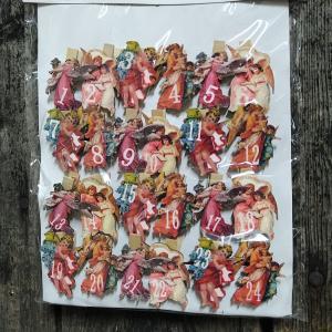 Träklämmor - adventskalender - änglar julnostalgi 24-pack - www.frokenfraken.se