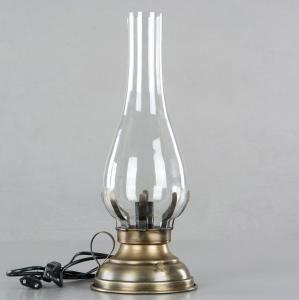 Lampa - Fotogenlampa med el - Antik Mässing - 45 cm - www.frokenfraken.se