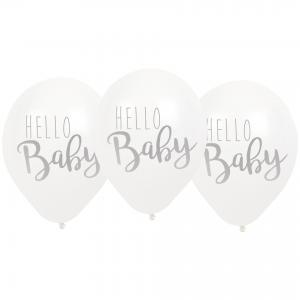 Ballonger - Hello Baby - Vit - 6 st - www.frokenfraken.se