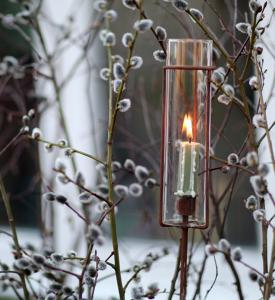 V.36 - Ljusstake på pinne med glas - kronljus - 120 cm - www.frokenfraken.se