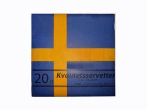 Servett - Flagga Sverige - 33 x 33 cm - www.frokenfraken.se
