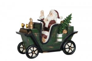 Juldekoration - Tomte i gammaldags bil - 25 x 12 x 19 cm - www.frokenfraken.se
