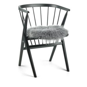 Fårskinn/Stolsdyna - Tibetan Steel Grey - Långhårigt lockigt - Ø 38 - www.frokenfraken.se