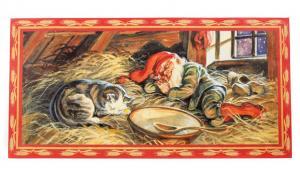 Julbonad - Sovande tomte & katt - 60 x 30 cm - www.frokenfraken.se