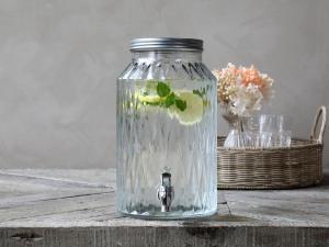 Dispenser i glas med tappkran 5,5 liter - 30 x Ø18 cm - www.frokenfraken.se