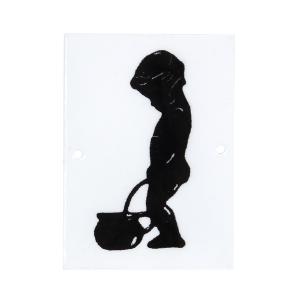 Emaljskylt - Pojke kissar potta - 8,5 x 6,5 cm - www.frokenfraken.se