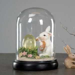 Påskdekoration - Glaskupa med Hare - 13 x 18 cm - www.frokenfraken.se
