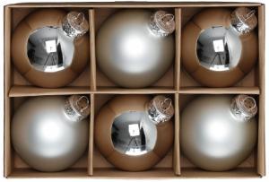 Julkulor Glas - Silver/6-pack - 6 cm - www.frokenfraken.se
