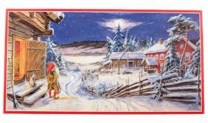 Julbonad - Tomte betraktar månen - 79 x 42 cm - www.frokenfraken.se