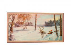 Julbonad - Åker pulka efter ren - 40,5 x 22 cm - www.frokenfraken.se