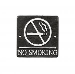 NO SMOKING - Skylt I Järn - 12 x 12 cm - www.frokenfraken.se
