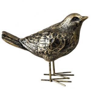 Fågel - Guld/Svart/Brun - 13 cm - www.frokenfraken.se
