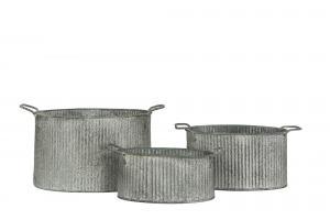 Kruka - Randig - Zink - 27 x 14 cm - www.frokenfraken.se