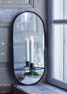 Spegel m. Ljushållare Svart - W 20,5 x H 46 - www.frokenfraken.se