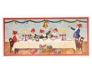 Julbonad - Tomtar vid bordet - 45,5 x 21 cm - www.frokenfraken.se