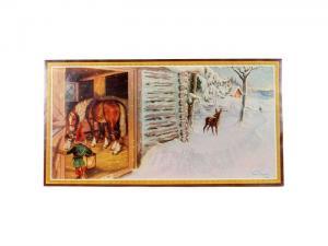 Julbonad - Häst i stallet - 35 x 26 cm - www.frokenfraken.se