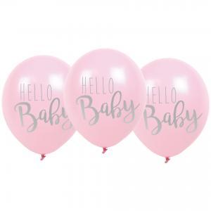Ballonger - Hello Baby - Rosa - 6 st - www.frokenfraken.se