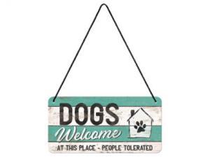 Plåtskylt - Dogs Welcome - 10 x 20 cm - www.frokenfraken.se