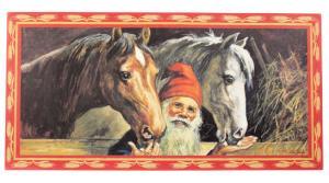 Julbonad - Tomte med två hästar - 60 x 30 cm - www.frokenfraken.se