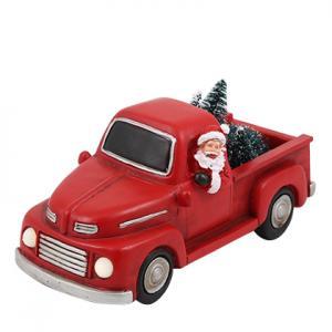 Juldekoration - Tomte i röd pickup - Belysning - 24 cm