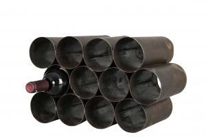 Vinställ - Metall - Antik brun - 12 flaskor - 40 x 24 cm - www.frokenfraken.se