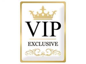 Plåtskylt - VIP Exclusive Gold - 30 x 40 cm - www.frokenfraken.se