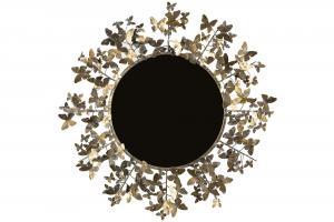 Spegel - Rund med fjärilar - Mässing/Brun - Ø80 cm - www.frokenfraken.se