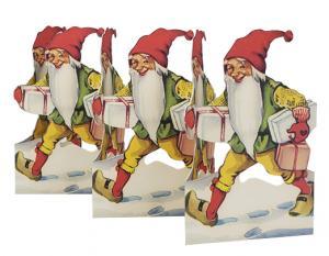 Julpynt - Gammaldags Pappersrad - Tomte med paket - 16,5 cm x 65 cm - www.frokenfraken.se