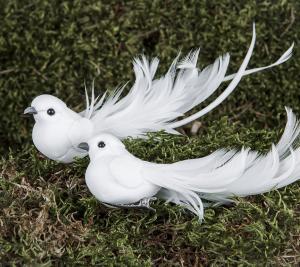 Fågel - Vit långa fjädrar - 14 cm - www.frokenfraken.se