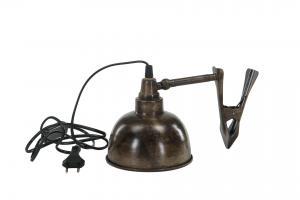 Lampa - Klämspott Brun - Industristil - 15 x 15 cm - www.frokenfraken.se