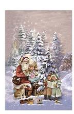 Dubbel Kort - Tomte & barn sjunger i snön - www.frokenfraken.se