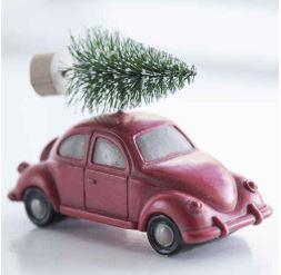 IB Laursen Julgranspynt - Bil med gran på taket - Röd - 9 cm